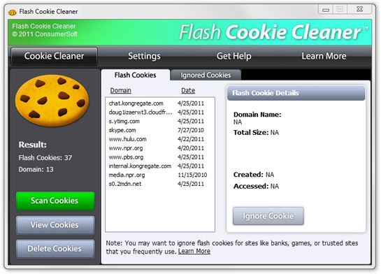 Flash Cookie Cleaner Screenshot